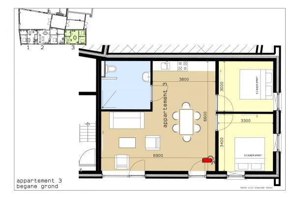 plattegrond appartement 3